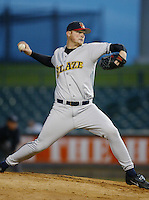 Seth McClung of the Bakersfield Blaze pitches during a California League 2002 season game against the Lancaster JetHawks at The Hanger, in Lancaster, California. (Larry Goren/Four Seam Images)