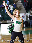 North Texas Mean Green dance team member performs after the game between the Jackson State Tigers and the University of North Texas Mean Green at the North Texas Coliseum,the Super Pit, in Denton, Texas. UNT defeated Jackson 68 to 49