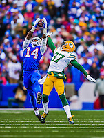 14 December 2014: Buffalo Bills wide receiver Sammy Watkins pulls in a pass for a 28-yard gain in the second quarter against the Green Bay Packers at Ralph Wilson Stadium in Orchard Park, NY. The Bills defeated the Packers 21-13, snapping the Packers' 5-game winning streak and keeping the Bills' 2014 playoff hopes alive. Mandatory Credit: Ed Wolfstein Photo *** RAW (NEF) Image File Available ***