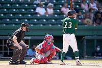 Catcher Stephen Scott (23) of the Greenville Drive in a game against the Hickory Crawdads on Sunday, August 29, 2021, at Fluor Field at the West End in Greenville, South Carolina. The catcher is David Garcia (13). The catcher is David Garcia (13) and the umpire is Mitch Leikam. (Tom Priddy/Four Seam Images)