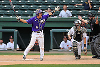 Nobu Suzuki (6) of Western Carolina seems surprised after being hit by a pitch for a bases-loaded walk-off win against Mercer in the SoCon Tournament championship final on Sunday, May 29, 2016, at Fluor Field at the West End in Greenville, South Carolina. (Tom Priddy/Four Seam Images)