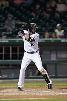 Paulo Orlando (16) of the Charlotte Knights at bat against the Durham Bulls at BB&T BallPark on July 31, 2019 in Charlotte, North Carolina. The Knights defeated the Bulls 9-6. (Brian Westerholt/Four Seam Images)
