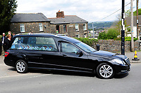 Pictured: The Casket of Carson Price is driven from the funeral at Gelligaer Church, in Gelligaer, Wales, UK Tuesday 07 May 2019<br /> Re: Funeral of 13 year old Carson Price at Gelligaer Church, in Gelligaer, Wales, UK.<br /> Schoolboy Carson Price was found at a park in Ystrad Mynach, south Wales at the start of the Easter school holidays.<br /> It is believed he had taken MDMA Donkey Kong tablets.