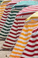 France, Aquitaine, Pyrénées-Atlantiques, Pays Basque, Biarritz: La Grande Plage , Parasols de plage //  France, Pyrenees Atlantiques, Basque Country, Biarritz: The Grande Plage , Beach umbrellas