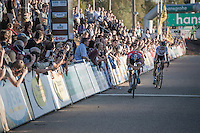 Dutch Champion Mathieu Van der Poel (NED/Beobank-Corendon) wins the duo-sprint to the finish from World Champion Wout Van Aert (BEL/Crelan-Vastgoedservice).<br /> Both men are exhausted as they cross the line.<br /> <br /> CX Superprestige Zonhoven 2016