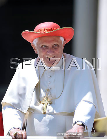 Pope Benedict XVI leaves at the end of his Wednesday general audience in Saint Peter's Square at the Vatican, on 20 May 2009.