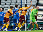Motherwell v St Johnstone.....16.04.11  Scottish Cup Semi-Final.Stephen Craigan shows his delight after heading Motherwell into the lead.Picture by Graeme Hart..Copyright Perthshire Picture Agency.Tel: 01738 623350  Mobile: 07990 594431