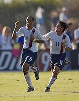 2007 Nike Friendlies, IMG Academies, Bradenton, Fla..USMNT U17 vs Russia..Stefan Jerome (9) and Carlos Martinez (11) celebrate Stefan's goal against Russia