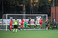 Hanne Hellinx (3) of Sporting du Pays de Charleroi , Pauline Windels (5) of Zulte Waregem pictured during a female soccer game between Sporting Charleroi and SV Zulte-Waregem on the third matchday in the 2021 - 2022 season of Belgian Scooore Womens Super League , friday 3 September 2021 in Marcinelle , Belgium . PHOTO SPORTPIX | STIJN AUDOOREN