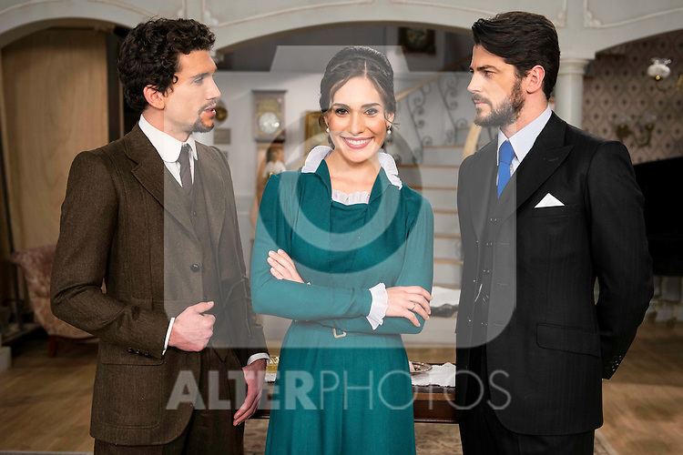 """Jaime Lorente, Yara Puebla and Angel de Molina during the presentation of the new characters for the new season of the tv series """"El Secreto de Puente Viejo""""  in Madrid, February 10, Madrid."""