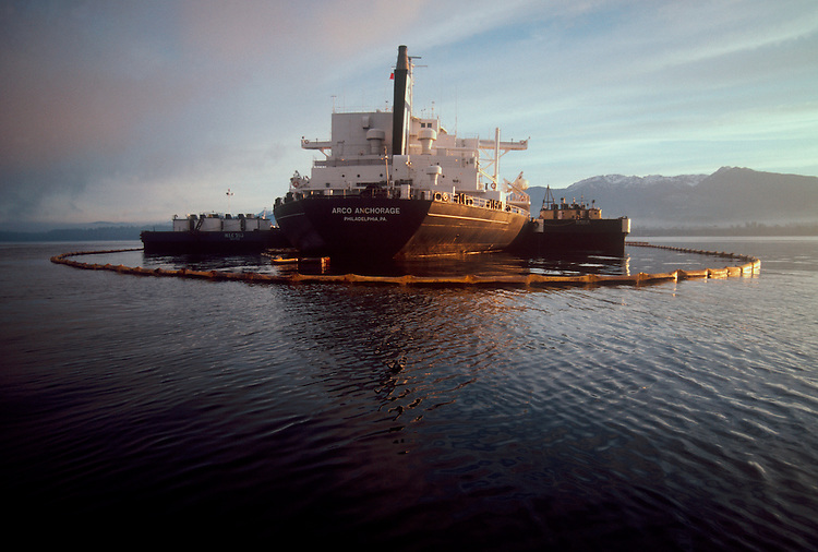 Oil Spill, Puget Sound, Washington State, Super tanker Arco Anchorage lies aground in Port Angeles harbor leaking 239,000 gallons of Alaska North Slope crude oil
