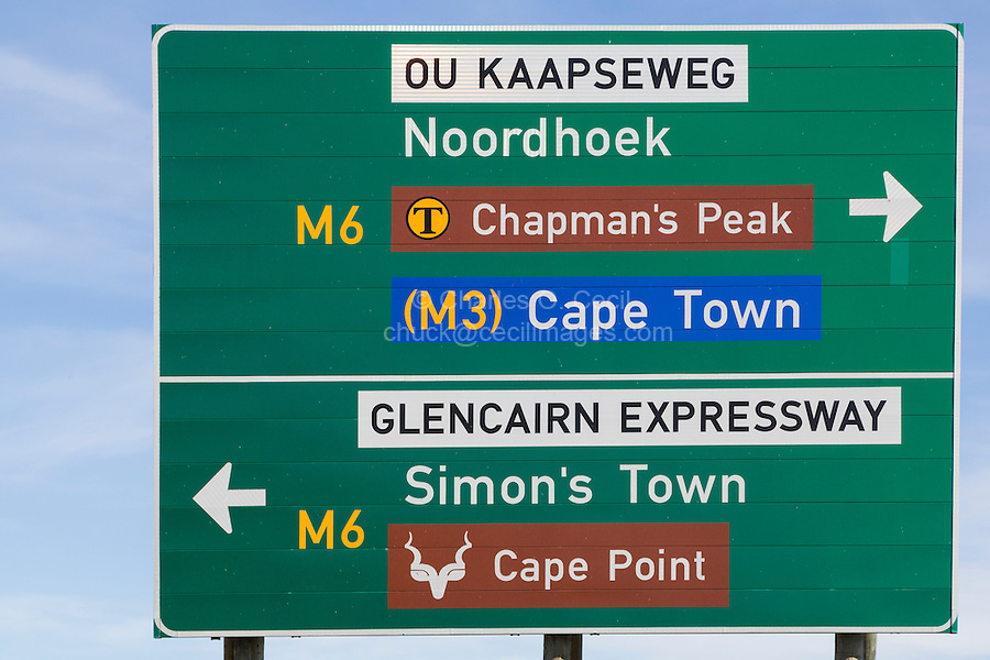 South Africa.  Highway Signs between Cape Town and Simon's Town, Western Cape Province.