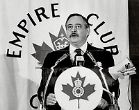 1984 FILE PHOTO - ARCHIVES -<br /> <br /> Jacques Parizeau, The Quebec finance minister was in Toronto yesterday to speak to an Empire Club audience.<br /> <br /> PHOTO : Reg INNELL - Toronto Star Archives - AQP