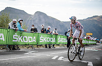 Polka Dot Jersey / KOM leader Benoit Cosnefroy (FRA/AG2R-La Mondiale) struggling up the Puy Mary (uphill finish)<br /> <br /> Stage 13 from Châtel-Guyon to Pas de Peyrol (Le Puy Mary) (192km)<br /> <br /> 107th Tour de France 2020 (2.UWT)<br /> (the 'postponed edition' held in september)<br /> <br /> ©kramon