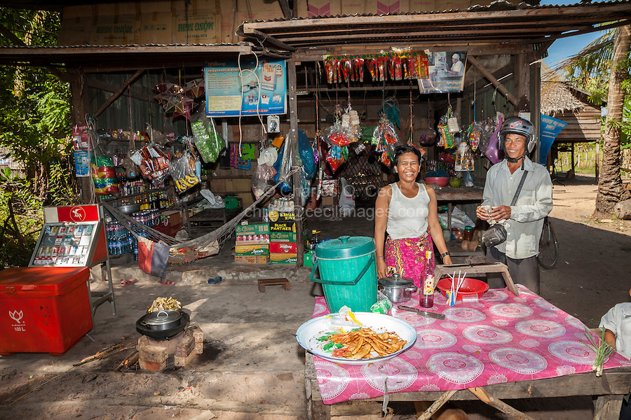 Cambodia.  Roadside Snack Shop Selling Food and Refreshments.