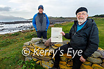 Eoghan Ó Loinsigh (seated) with his nephew Martin Lynch and has published a book 'Placenames of the Maharees/Logainmneacha na Machairí' to preserve local place names.