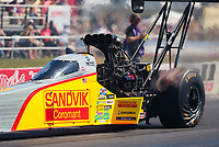 Sep 5, 2020; Clermont, Indiana, United States; NHRA top fuel driver Tony Schumacher during qualifying for the US Nationals at Lucas Oil Raceway. Mandatory Credit: Mark J. Rebilas-USA TODAY Sports