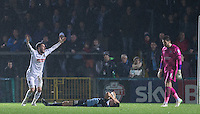 Liam Noble of Notts County appeals as he is sent off for a foul on floored Luke O'Nien of Wycombe Wanderers during the Sky Bet League 2 match between Wycombe Wanderers and Notts County at Adams Park, High Wycombe, England on 15 December 2015. Photo by Andy Rowland.