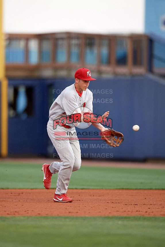 Palm Beach Cardinals second baseman Luke Dykstra (32) fields a ball during a game against the Charlotte Stone Crabs on April 11, 2017 at Charlotte Sports Park in Port Charlotte, Florida.  Palm Beach defeated Charlotte 12-6.  (Mike Janes/Four Seam Images)
