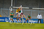Kieran Fitzgibbon, Kerry and Killian Spillane, Kerry in action against Damien Comer, Galway during the Allianz Football League Division 1 South Round 1 match between Kerry and Galway at Austin Stack Park in Tralee.