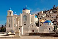 Blue domed Byzantine Greek Orthodox Chapel of Panaghia Gremiotissa. Chora  (Hora), Ios, Cyclades Islands, Greece.