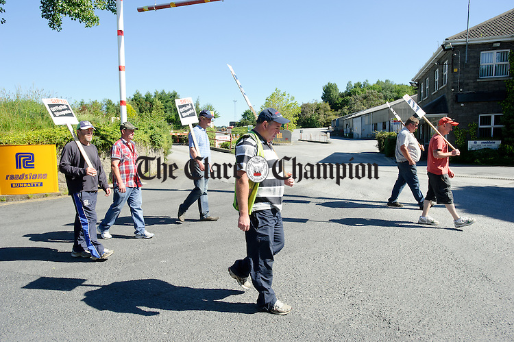 SIPTU members at Roadstone Bunratty on the picket over proposed pay cuts. Photograph by John Kelly.