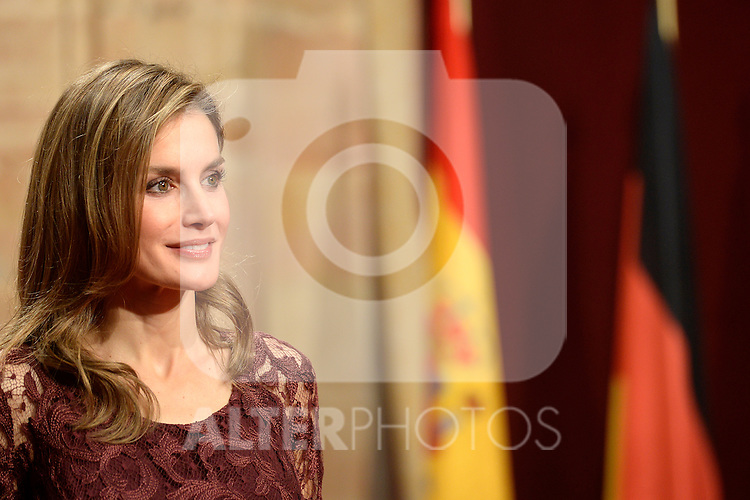Princess Letizia poses during an official audience of the 2013 Prince of Asturias Awards laureates at the Reconquista Hotel in Oviedo, Spain. October 25, 2013..(ALTERPHOTOS/Victor Blanco)