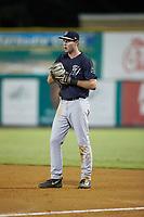 Pulaski Yankees first baseman Jake Farrell (72) on defense against the Burlington Royals at Burlington Athletic Stadium on August 25, 2019 in Burlington, North Carolina. The Yankees defeated the Royals 3-0. (Brian Westerholt/Four Seam Images)