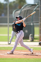 Miami Marlins Connor Justus (59) bats during a Minor League Spring Training camp day on April 28, 2021 at Roger Dean Chevrolet Stadium Complex in Jupiter, Fla.  (Mike Janes/Four Seam Images)