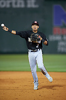 Chattanooga Lookouts shortstop Engelb Vielma (2) throws to first base during a game against the Jackson Generals on April 27, 2017 at The Ballpark at Jackson in Jackson, Tennessee.  Chattanooga defeated Jackson 5-4.  (Mike Janes/Four Seam Images)