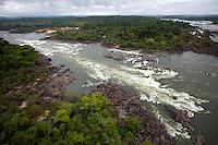 Cachoeiras da Volta Grande do Rio Xingu, no município de Vitória do Xingu, PA, que com a conclusão das obras da hidrelétrica terá sua vazão reduzida