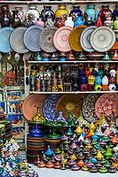 Marrakesh, Morocco.  Ceramics in the Souk.