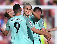 11th September 2021; Brentford Community Stadium, London, England;  Premier League football, Brentford versus Brighton Athletic; Leandro Trossard of Brighton celebrates with Neal Maupay on scoring in 88th minute 0-1