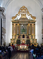 Antigua, Guatemala.  Altar, Escuela de Cristo Church, Palm Sunday.