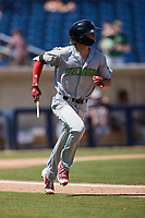 Petey Halpin (29) of the Lynchburg Hillcats breaks his bat during the game against the Kannapolis Cannon Ballers at Atrium Health Ballpark on August 29, 2021 in Kannapolis, North Carolina. (Brian Westerholt/Four Seam Images)