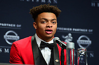 New York, NY - December 14, 2019: Heisman Trophy finalist Ohio State Quarterback Justin Fields participates in a media availability at the New York Marriott Marquis before the announcement of the 2019 Heisman Trophy Award December 14, 2019.  (Photo by Don Baxter/Media Images International)