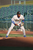 Ibandel Isabel (34) of the Rancho Cucamonga Quakes in the field at first base during a game against the Lancaster JetHawks at The Hanger on April 28, 2017 in Lancaster, California. Lancaster defeated Rancho Cucamonga, 16-10. (Larry Goren/Four Seam Images)