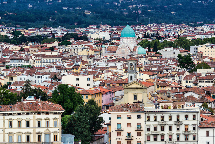 Panoramic view of city architecture,  Florence, Italy