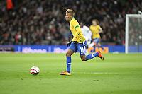 LONDRES, INGLATERRA, 06 DE FEVEREIRO 2013 - AMISOTOSO INGLATERRA X BRASIL - Neymar em partida amistosa realizada no Estádio de Wembley, em Londres, Inglaterra, nesta quarta-feira. FOTO: GUILHERME ALMEIDA - BRAZIL PHOTO PRESS.