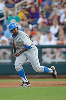 UCLA outfielder Brenton Allen (23) runs to second base during Game 1 of the 2013 Men's College World Series Finals against the Mississippi State Bulldogs on June 24, 2013 at TD Ameritrade Park in Omaha, Nebraska. The Bruins defeated the Bulldogs 3-1, taking a 1-0 lead in the best of 3 series. (Andrew Woolley/Four Seam Images)