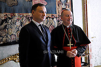 Cardinal Pietro Parolin  Polish President Andrzej Duda  during a private audience at the Vatican on November 9, 2015.
