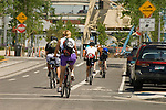 Group of bikers in the South Waterfront neighborhood, Oregon