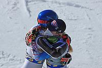 20th February 2021; Cortina d'Ampezzo, Italy; FIS Alpine World Ski Championships, Women's Slalom ;  Petra Vlhova (SVK) and Mikaela Shiffrin (USA) celebrate at the finish line