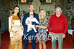 The christening of baby Paige Noreen Wallace in the Ardfert Cathedral on Sunday. L to r: Michelle, Damien (Dad) and baby Paige Wallace, Karen O'Leary (Mom) and Frank Wallace.