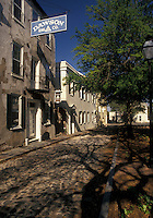 Charleston, South Carolina, SC, Historic houses along a narrow cobblestone street in Charleston in the spring.