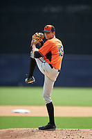 Pitcher Josh Lowe (19) of Pope High School in Marietta, Georgia playing for the Baltimore Orioles scout team during the East Coast Pro Showcase on July 28, 2015 at George M. Steinbrenner Field in Tampa, Florida.  (Mike Janes/Four Seam Images)