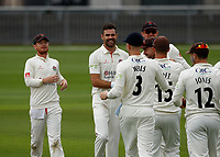 5th July 2021; Emirates Old Trafford, Manchester, Lancashire, England; County Championship Cricket, Lancashire versus Kent, Day 2; James Anderson of Lancashire, celebrates taking his fourth wicket, having Jack Leaning caught by Jones for 2 and Kent are reduced to 17-4 after less than an hour's play