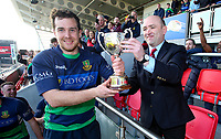 Saturday 6th April 2019 | 2019 Gordon West Final<br /> <br /> Monaghan captain Jason McGuirk receives the Gordon West cup from Ulster Branch representative Greg Irwin after Monaghan defeated Donaghadee at Kingspan Stadium, Ravenhill Park, Belfast, Northern Ireland. Photo by John Dickson / DICKSONDIGITAL