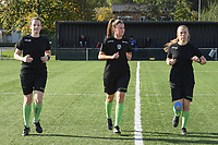 20191026 – Brugge, BELGIUM : referee Chloe Van Mingeroet (M) with assistant referees Joline Delcroix (L) and Shauni Depruyst (R)  pictured during the warming up of a women soccer game between Club Brugge Dames and Standard Femina de Liege on the seventh matchday of the Belgian Superleague season 2019-2020 , the Belgian women's football  top division , Saturday 26 th October 2019 at the synthetic terrain 4 at the Jan Breydel site in Brugge  , Belgium  .  PHOTO SPORTPIX.BE | DIRK VUYLSTEKE