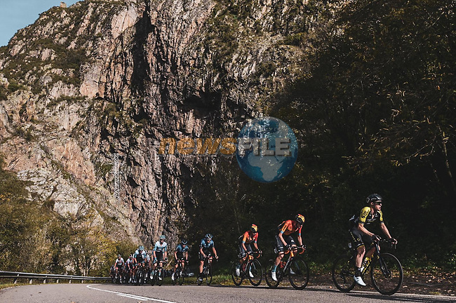 The peloton during Stage 11 of the Vuelta Espana 2020 running 170km from Villaviciosa to Alto de la Farrapona, Spain. 31st October 2020. <br /> Picture: Unipublic/Charly Lopez | Cyclefile<br /> <br /> All photos usage must carry mandatory copyright credit (© Cyclefile | Unipublic/Charly Lopez)